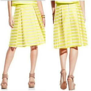 VINCE CAMUTO | Yellow Stripe Pleated A-Line Skirt